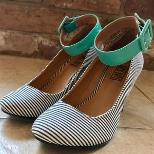 Mix No. 6 Shoes - Mix No 6 Striped Wedge Turquoise Ankle Strap 5.5